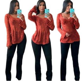 e9ee1b3a580a Blusa De Crochet Ponto Vazado E Manga Morcego - Calçados, Roupas e ...