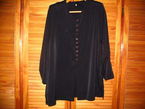 blusa manga larga camisa negra con hombreras t3 botones