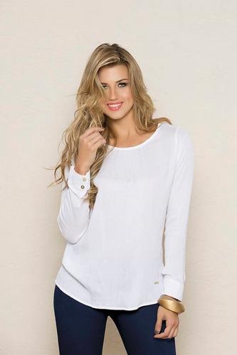 blusa manga larga elegante y casual blanca, en promoción