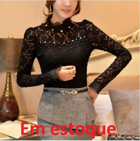 61f2e8def blusa renda manga longa importada · blusa manga longa