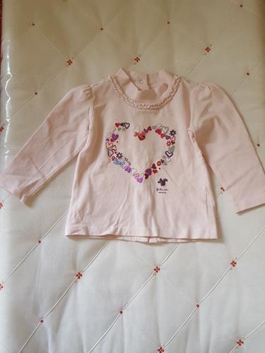 blusa manga longa chicco coração 12 meses
