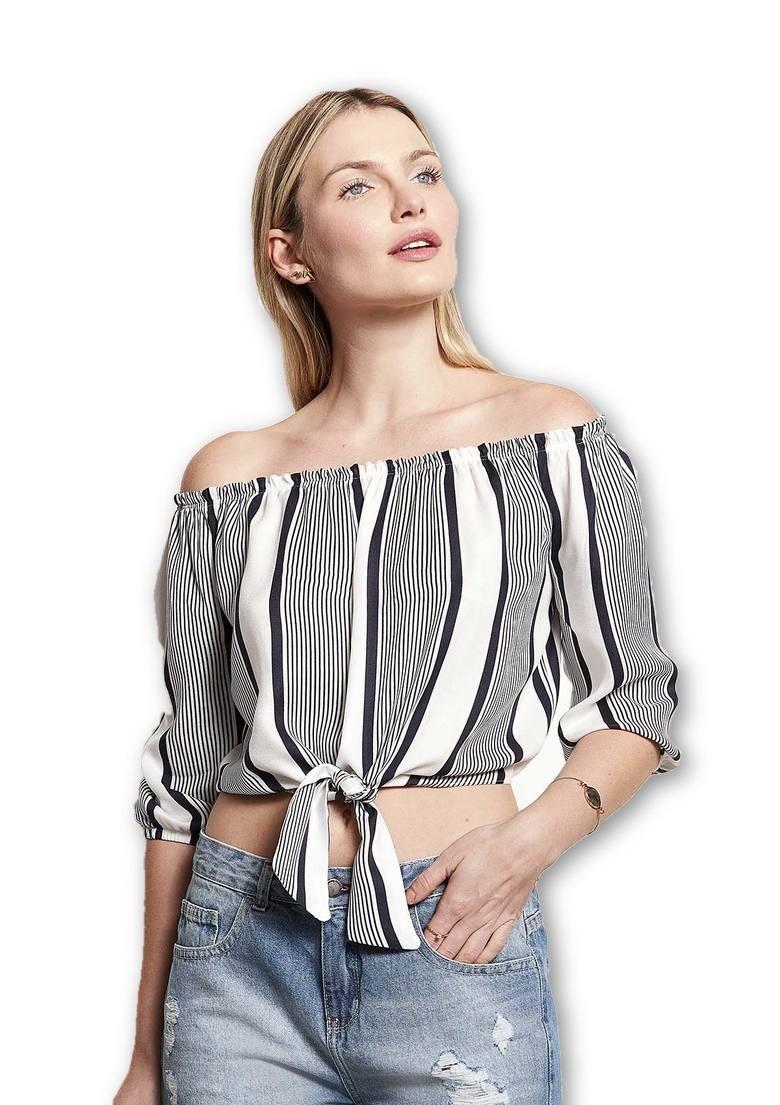 8fa2adcda3 blusa manga longa em tecido de viscose com amarração frontal. Carregando  zoom.