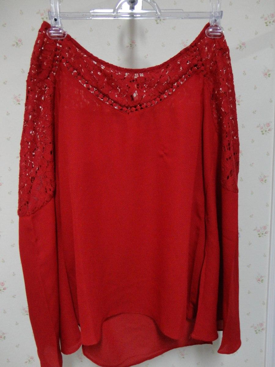 cc4e9ddd4 blusa manga longa flare vermelha - renda - manga flare. Carregando zoom.