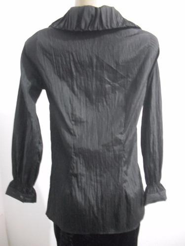 blusa manga longa preta tafetá tam m usado bom estado