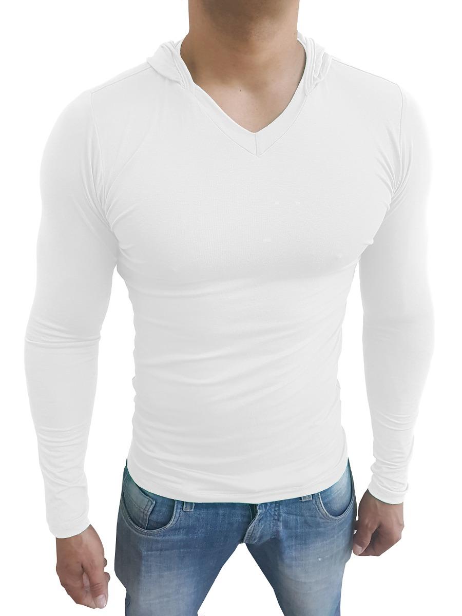 9ac25e0af blusa masculina com capuz gola v rasa manga comprida branco. Carregando  zoom.