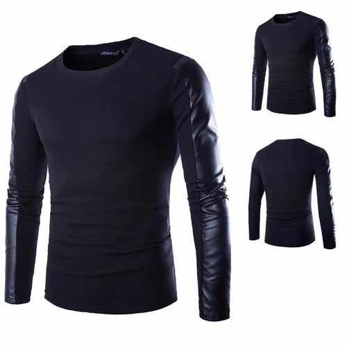 blusa masculina com mangas couro fake com frete gratis