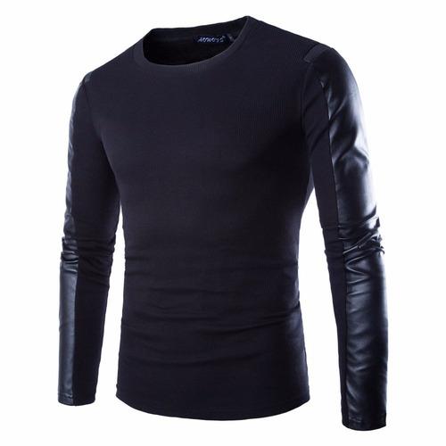 blusa masculina com mangas couro fake presente dia dos pais
