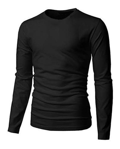 blusa masculina manga longa slim básica lisa confortável