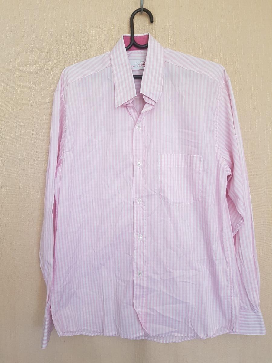 ab5f5bad10 blusa masculina social listrada branco e rosa manga longa. Carregando zoom.