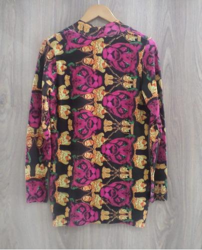 blusa maxi ana gonçalves malha tricot estampada floral