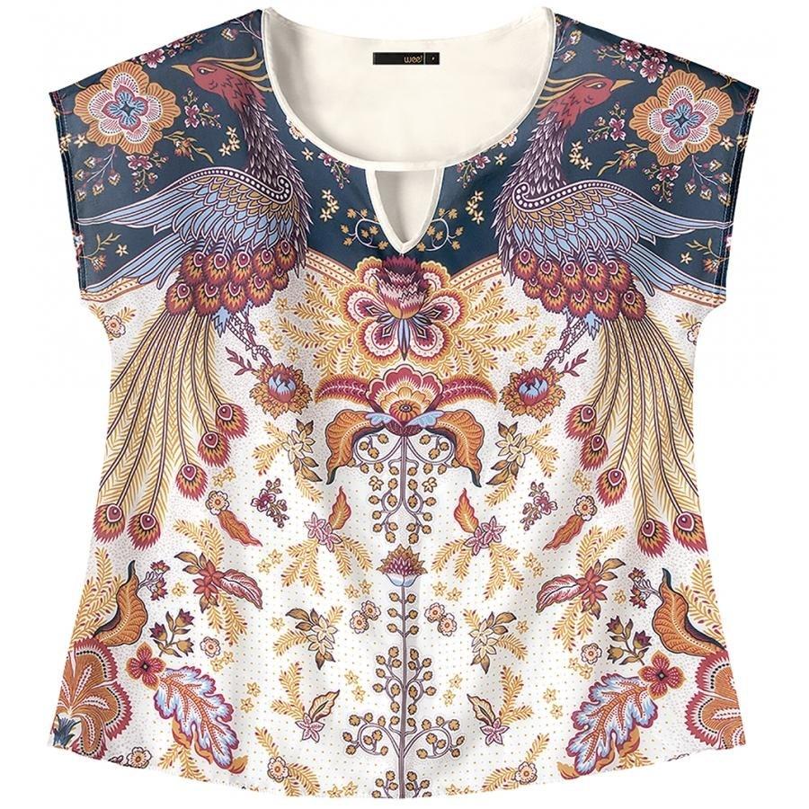 242c89a7a blusa meia malha e cetim off white estampada wee! plus size. Carregando  zoom.