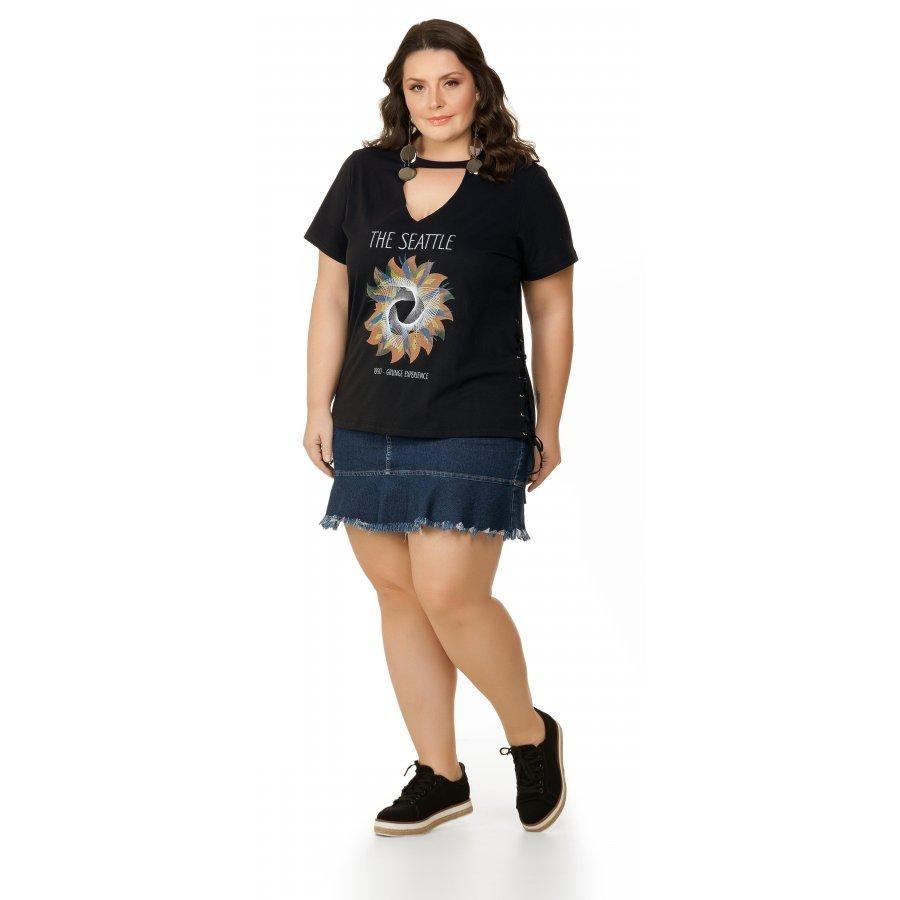 cbebb8082 blusa meia malha gola choker preto miss masy plus size. Carregando zoom.