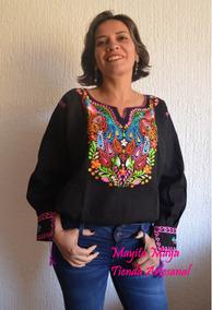 afabd6bf2 Blusa Mexicana Bordada Artesanal Tradicional Chiapas Flores
