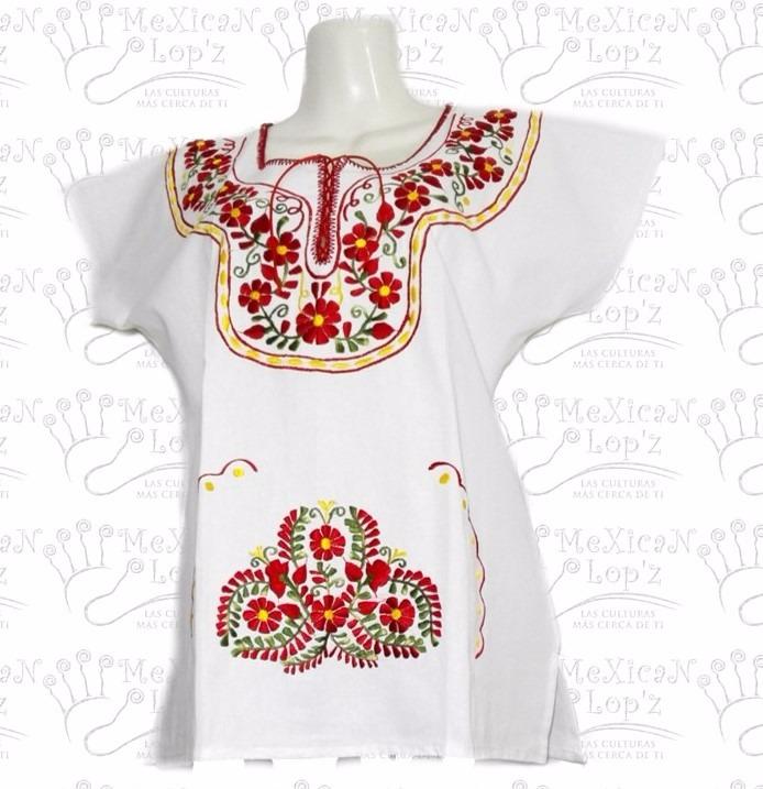 1417a3edd5 Blusa Mexicana Bordadas Típica Regionales Artesanal Colores ...