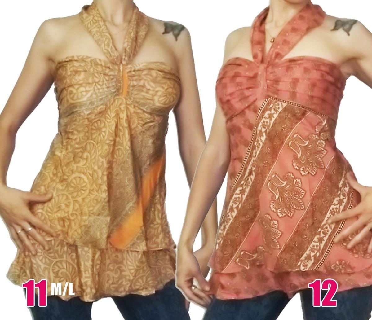 318df19b0 Blusa Mini Vestido Hindú Playero Seda Hippie Chic India
