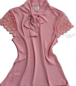 619e392eb Blusa Em Crepe Com Renda - Calçados, Roupas e Bolsas Rosa claro no ...