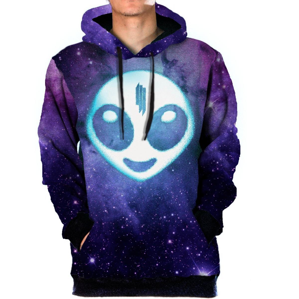 Blusa Moletom Bolso Lateral Galaxia Skrillex Alien 3d Galaxy - R ... 2708ae6571c27