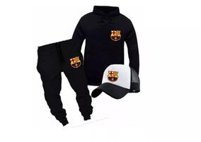 dbad31e4a1f Blusa Moletom + Calça + Boné Esporte Conjunto Barcelona