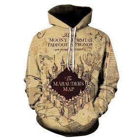 873a11b82 Blusa Moletom Canguru 3d Full Hogwarts Mapa Harry Potter