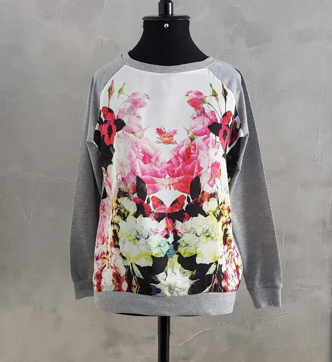 22dd5dd87 Blusa Moletom Cetim Floral Feminina - R$ 79,90 em Mercado Livre