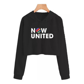 Blusa Moletom Cropped Now United Logo Banda Music Pop Casaco