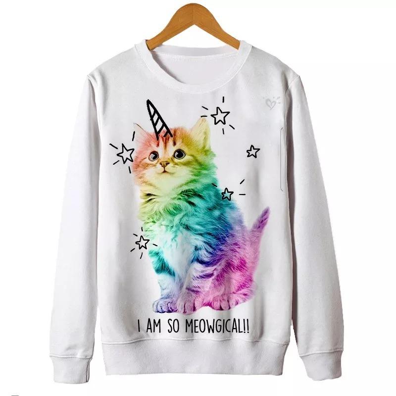 cb2a4406a blusa moletom estampa full 3d gato unicornio tumblr casaco. Carregando zoom.