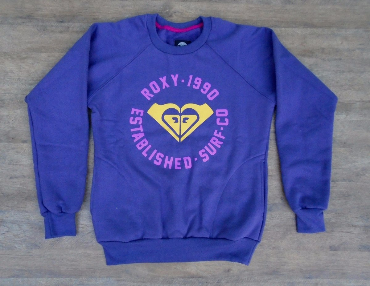 4506bb1d5a01c Blusa Moletom Feminina Roxy Quiksilver 1990 Com Bolso Linda! - R ...