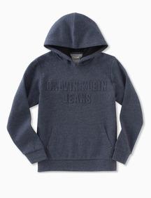 346437685ee788 Blusa Moletom Infantil Azul Calvin Klein Jeans - Tamanho 8 P