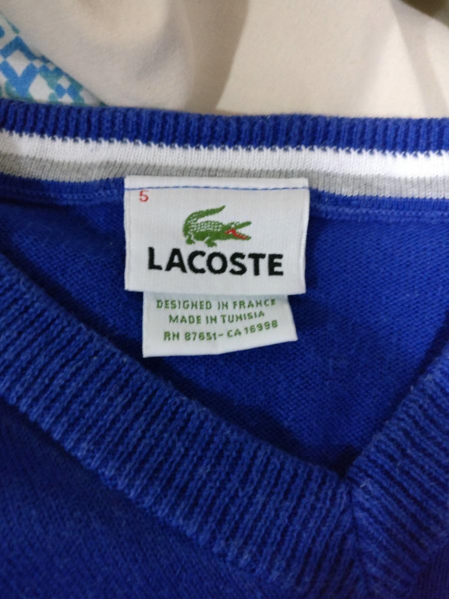 Blusa Moletom Lacoste Azul Tamanho 5 Original E Usada - R  250,00 em ... 514960919b