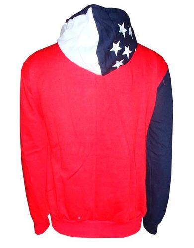 blusa moletom lcs estados unidos 2 botões azul e vermelha