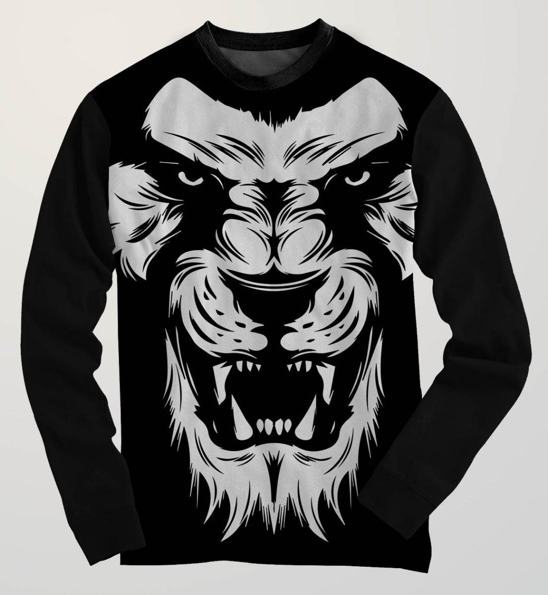 Blusa Moletom Leao Lion Black Desenho Dark Rock Tumblr Swag R