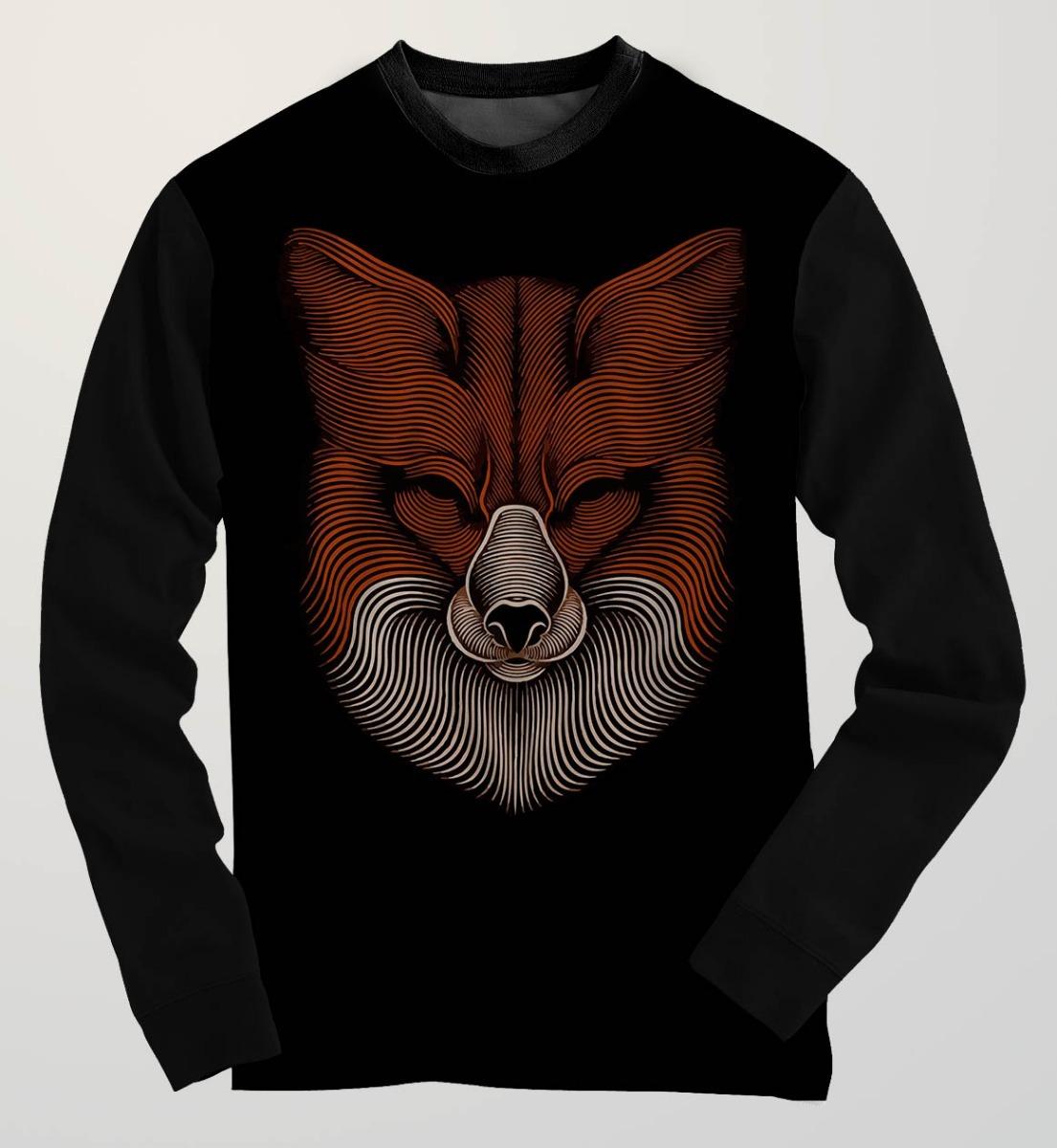 Blusa Moletom Line Fox Raposa Linha Desenho Tumblr Swag R 134