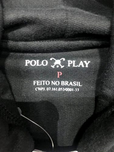 blusa moletom polo play com capuz