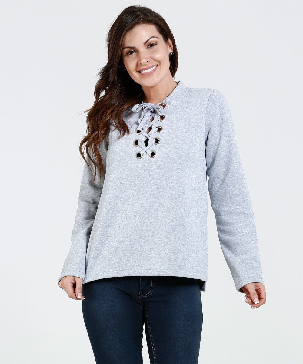adcc3a281d blusa moletom roupa feminina com decote ilhos moda feminina. Carregando zoom .