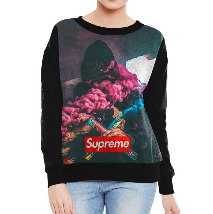 Blusa Moletom Roupa Feminino Supreme Fumaça Street Swag Thug - R ... 69b30dcd27a
