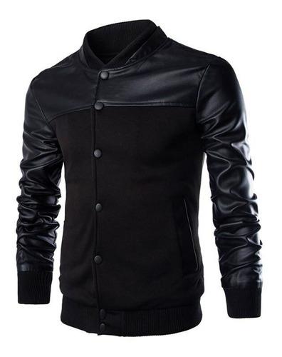 blusa moletom slim jaqueta b35 baseball bomber couro eco
