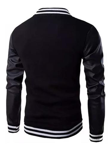 blusa moletom slim jaqueta b36 baseball bomber couro eco
