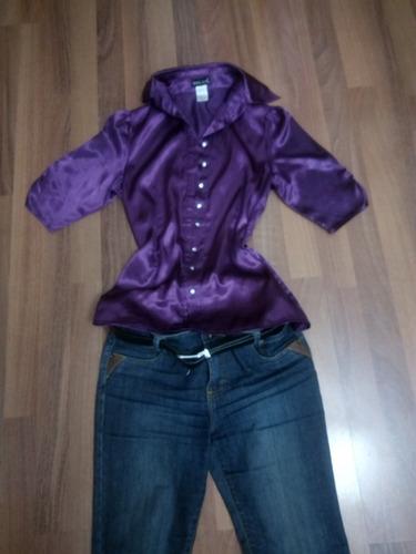 blusa morada manga corta botones de cristal t small envio gr