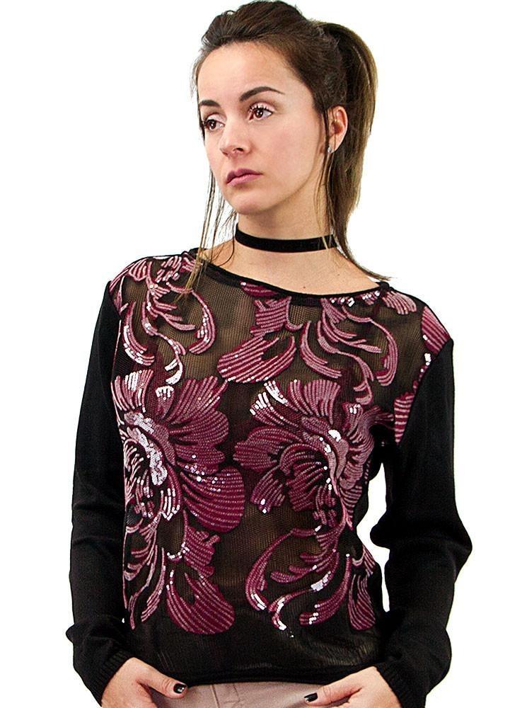 06c3f37e3 Blusa Morena Rosa Tricot Composê Tecido Rebordado Feminina - R$ 599 ...