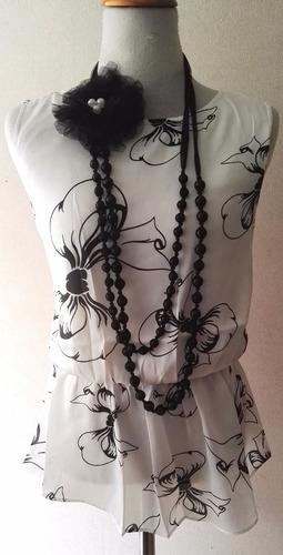 blusa mujer blanca flores negra talla l vintage