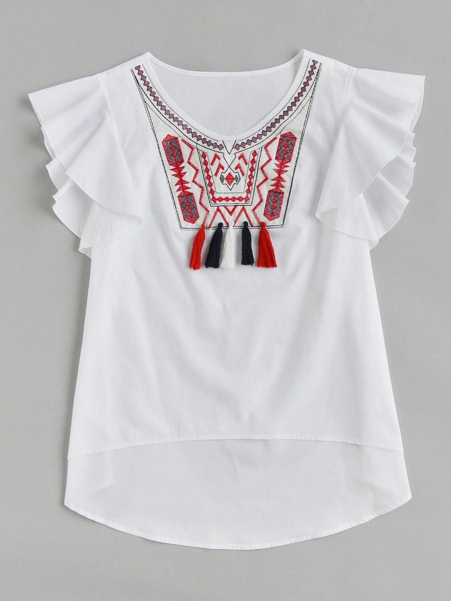 Mujer Cargando Importada Flecos Zoom Blusa Con Bordada P6n84w7xw