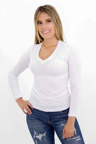 blusa mujer irreal cuello v manga larga 2229