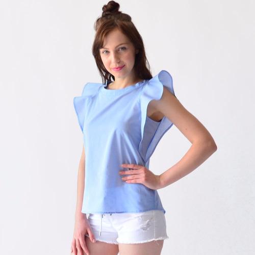blusa mujer rack & pack algodón amarillo, azul y blanco