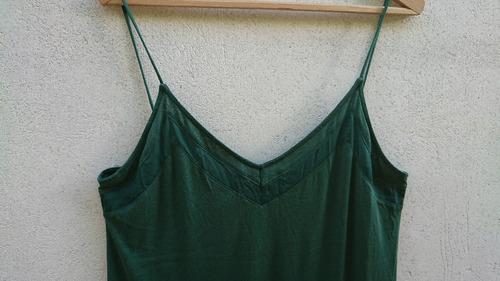 blusa musculosa con breteles finitos h&m verde oscuro