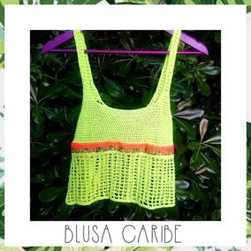 ef4e2e123 Blusa Musculosa Tejida Crochet Fluo Verano Divina
