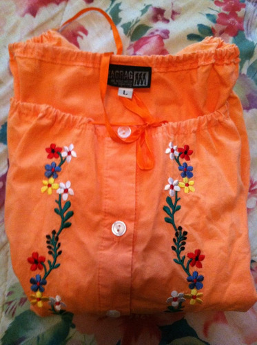 blusa naranja flores