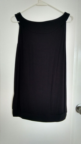 blusa negra con lentejuela sin manga talla l