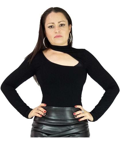 blusa negra pegada corte asimetrico cuello alto tarzan vc99