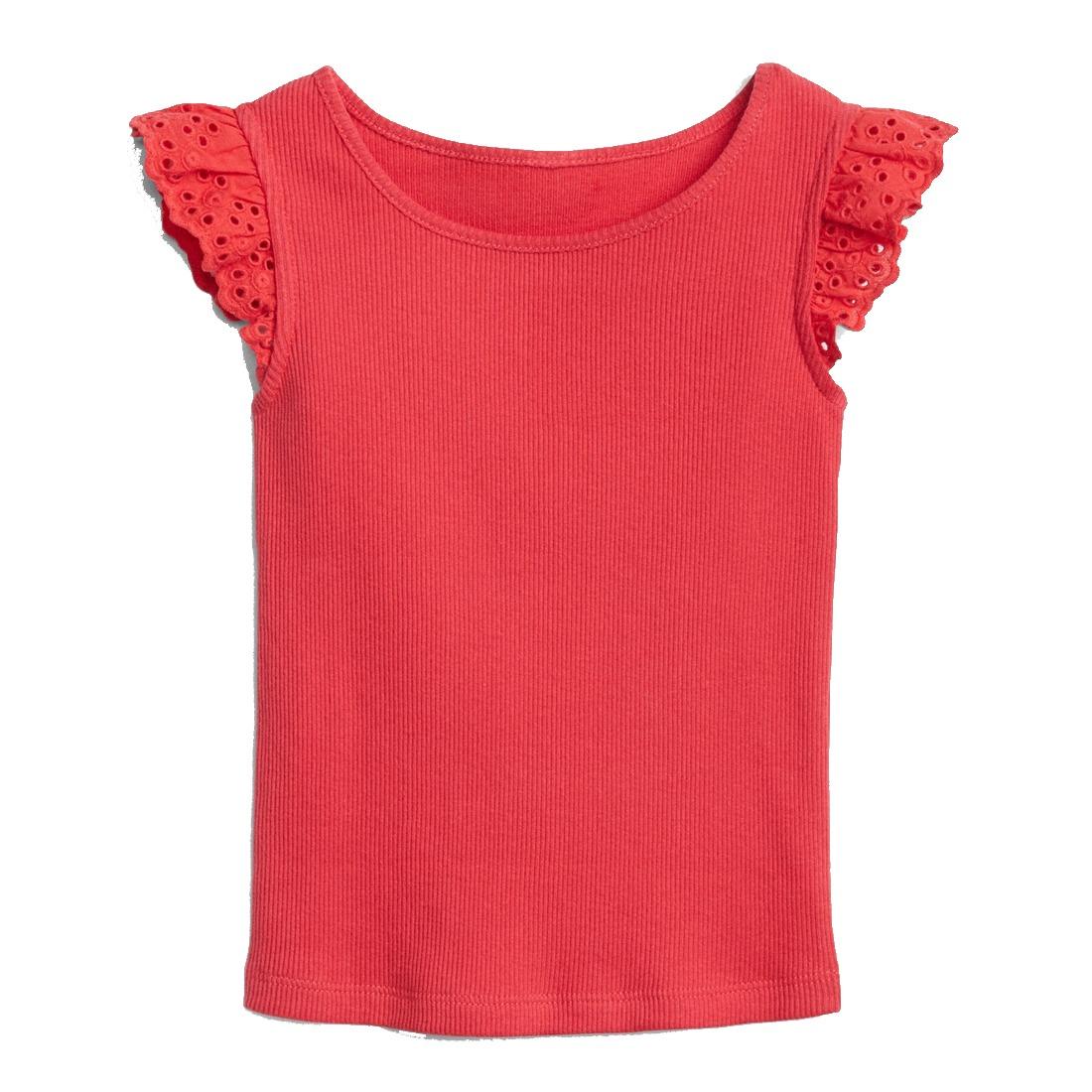 7a683afa0 blusa niña de moda bebé manga corta decorada top rojo gap. Cargando zoom.