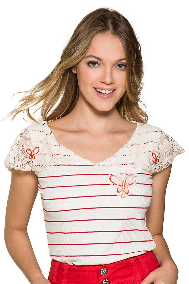 d627a293ab blusa nítido malha canelada listrada moda evangélica. Carregando zoom.
